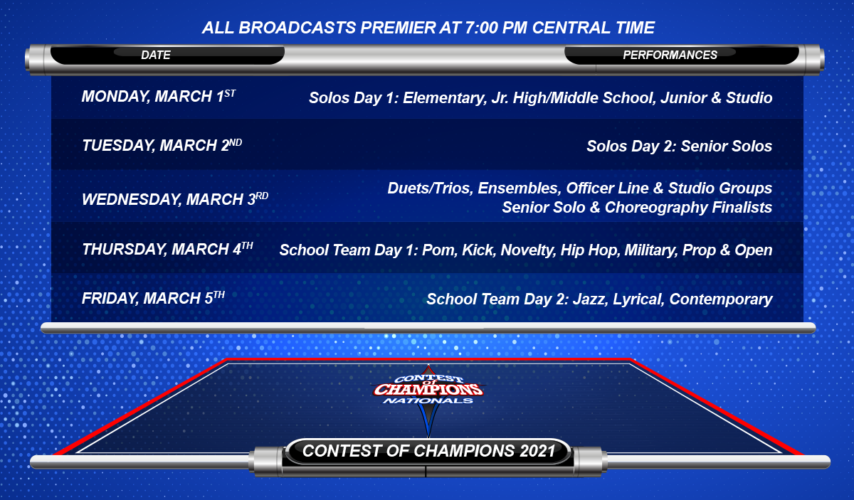 Contest of Champions Competition Broadcast Schedule